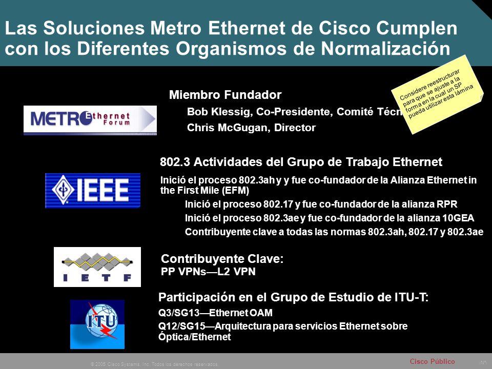 Nº © 2005 Cisco Systems, Inc. Todos los derechos reservados. Cisco Público Las Soluciones Metro Ethernet de Cisco Cumplen con los Diferentes Organismo