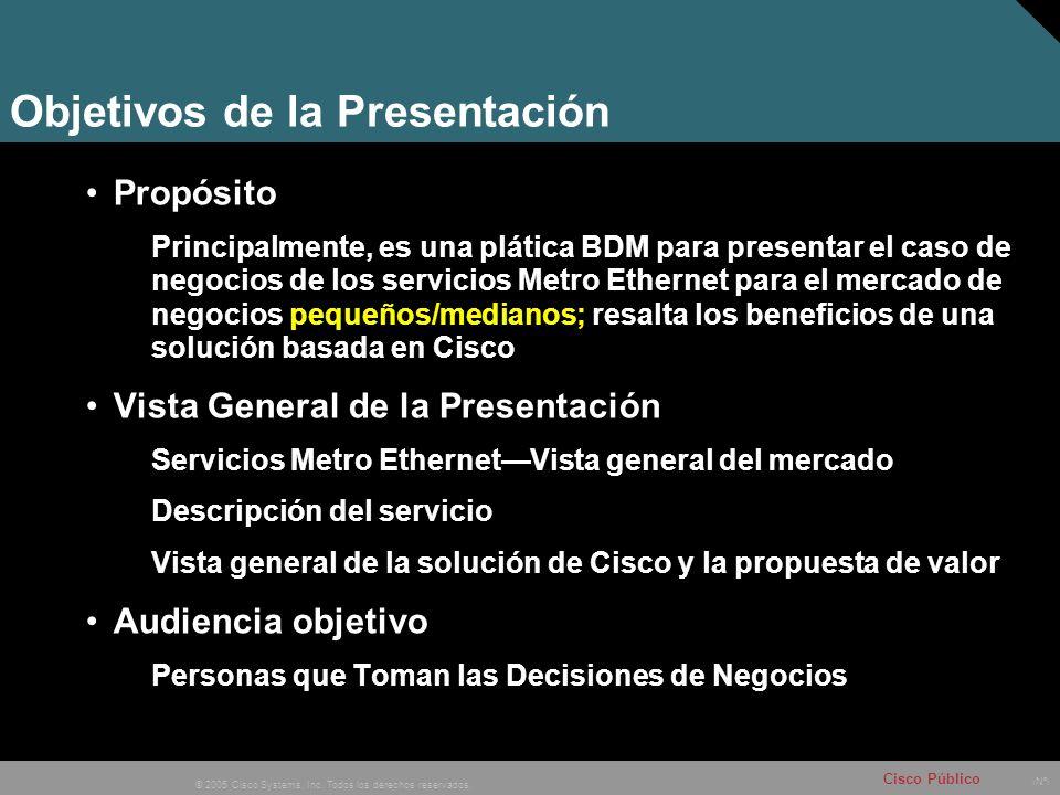 Nº © 2005 Cisco Systems, Inc. Todos los derechos reservados. Cisco Público Objetivos de la Presentación Propósito Principalmente, es una plática BDM p