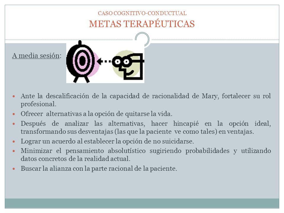 METAS TERAPÉUTICAS A media sesión: Ante la descalificación de la capacidad de racionalidad de Mary, fortalecer su rol profesional. Ofrecer alternativa