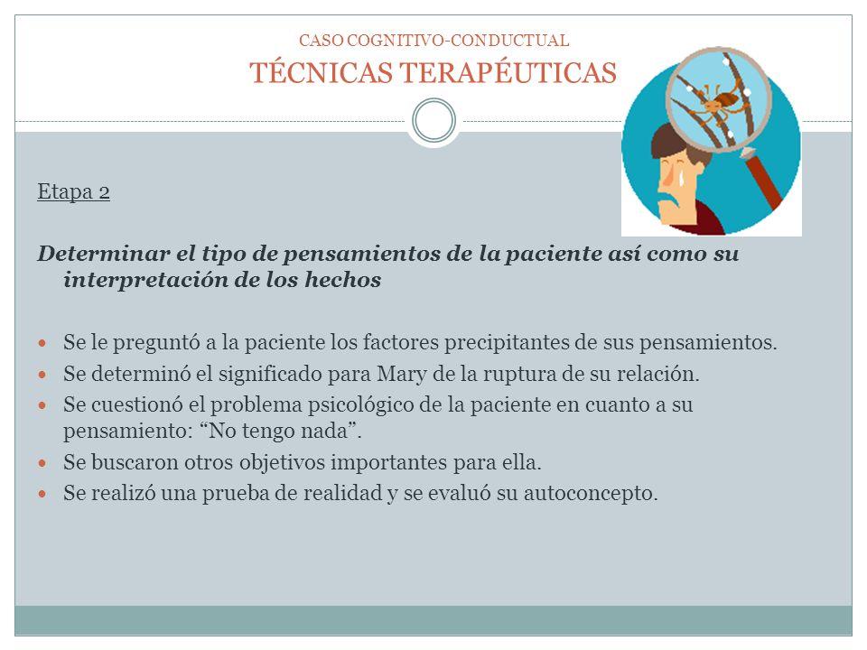 TÉCNICAS TERAPÉUTICAS Etapa 2 Determinar el tipo de pensamientos de la paciente así como su interpretación de los hechos Se le preguntó a la paciente