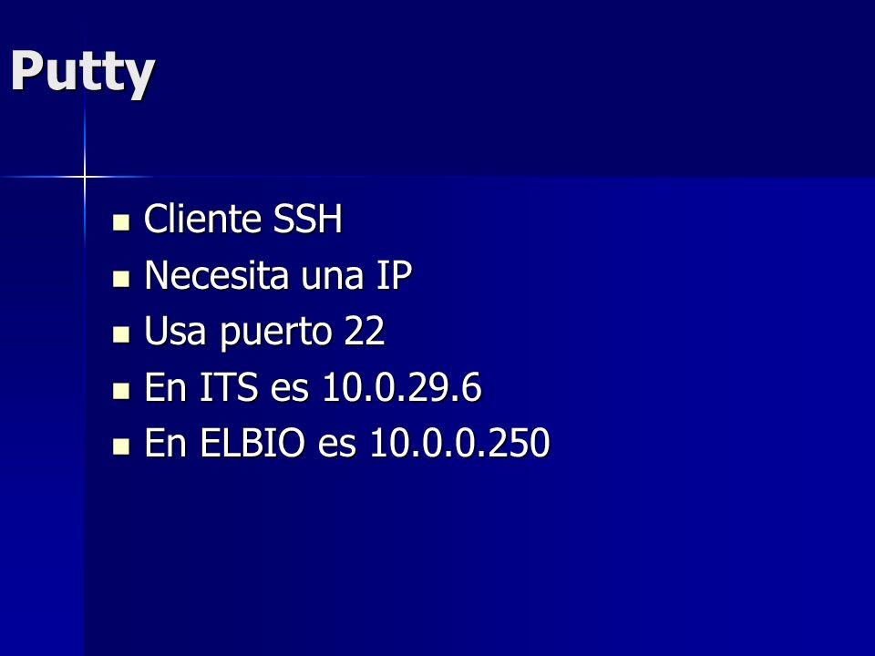 Putty Cliente SSH Cliente SSH Necesita una IP Necesita una IP Usa puerto 22 Usa puerto 22 En ITS es 10.0.29.6 En ITS es 10.0.29.6 En ELBIO es 10.0.0.2