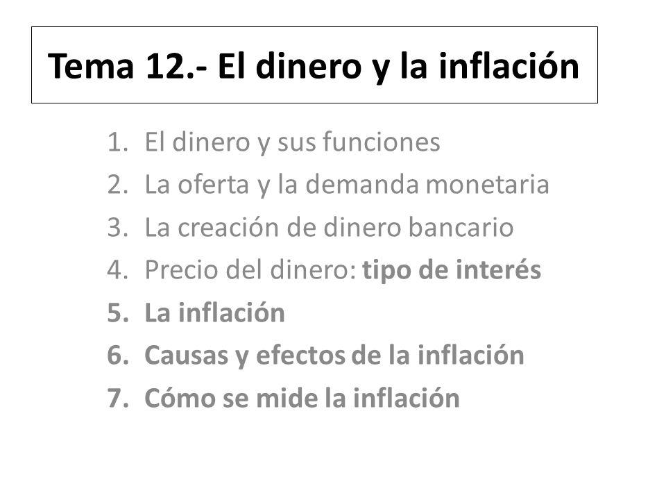 Tema 12.- El dinero y la inflación 1.El dinero y sus funciones 2.La oferta y la demanda monetaria 3.La creación de dinero bancario 4.Precio del dinero