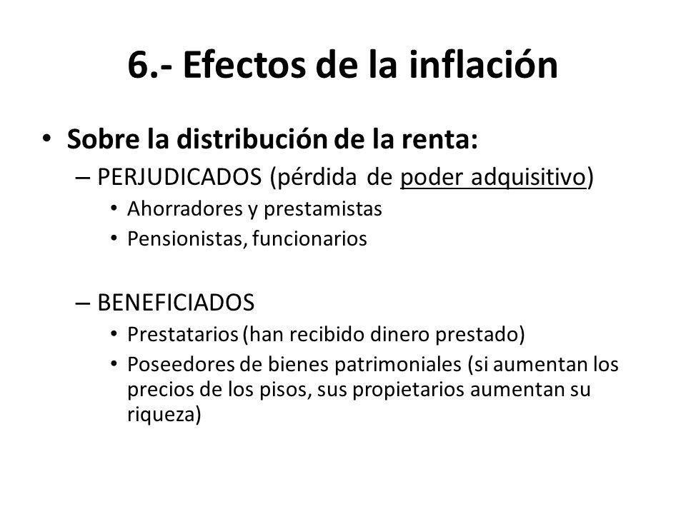 6.- Efectos de la inflación Sobre la distribución de la renta: – PERJUDICADOS (pérdida de poder adquisitivo) Ahorradores y prestamistas Pensionistas,