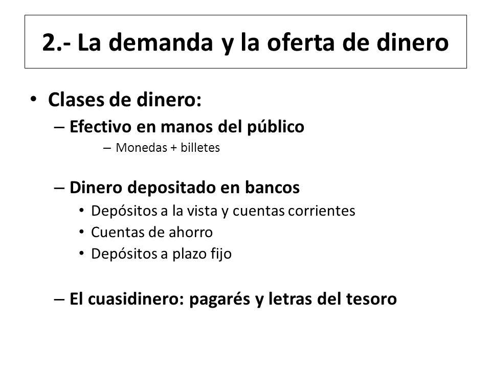 2.- La demanda y la oferta de dinero Clases de dinero: – Efectivo en manos del público – Monedas + billetes – Dinero depositado en bancos Depósitos a