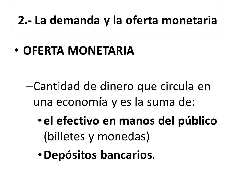 2.- La demanda y la oferta monetaria OFERTA MONETARIA – Cantidad de dinero que circula en una economía y es la suma de: el efectivo en manos del públi