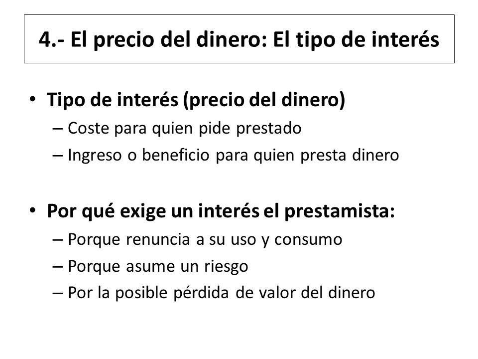 4.- El precio del dinero: El tipo de interés Tipo de interés (precio del dinero) – Coste para quien pide prestado – Ingreso o beneficio para quien pre