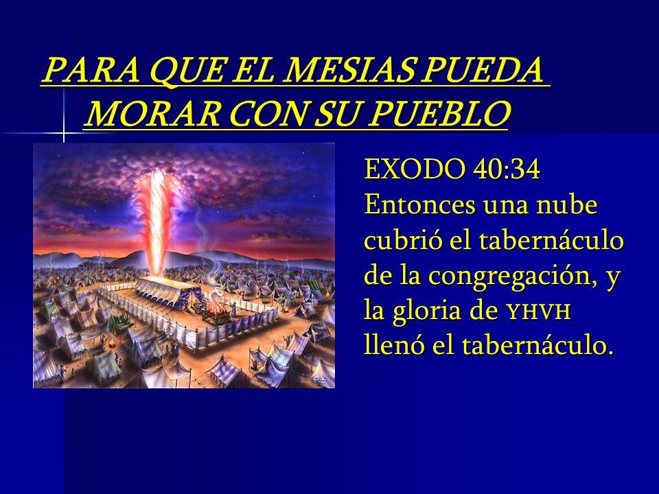 EXODO 40:34 Entonces una nube cubrió el tabernáculo de la congregación, y la gloria de YHVH llenó el tabernáculo. PARA QUE EL MESIAS PUEDA MORAR CON S