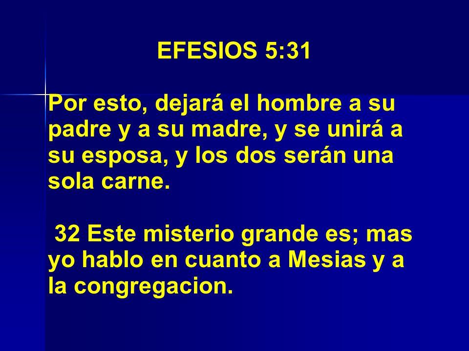 EFESIOS 5:31 Por esto, dejará el hombre a su padre y a su madre, y se unirá a su esposa, y los dos serán una sola carne. 32 Este misterio grande es; m
