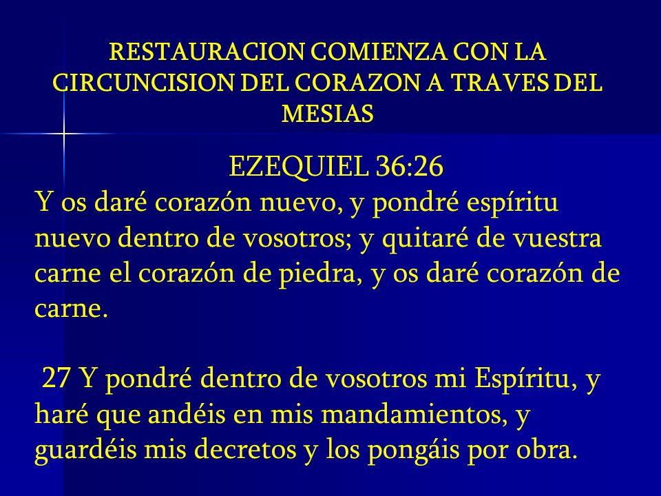 RESTAURACION COMIENZA CON LA CIRCUNCISION DEL CORAZON A TRAVES DEL MESIAS EZEQUIEL 36:26 Y os daré corazón nuevo, y pondré espíritu nuevo dentro de vo