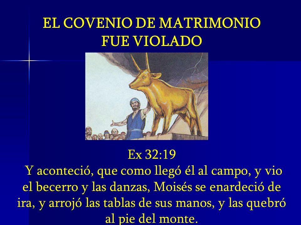 EL COVENIO DE MATRIMONIO FUE VIOLADO Ex 32:19 Y aconteció, que como llegó él al campo, y vio el becerro y las danzas, Moisés se enardeció de ira, y ar