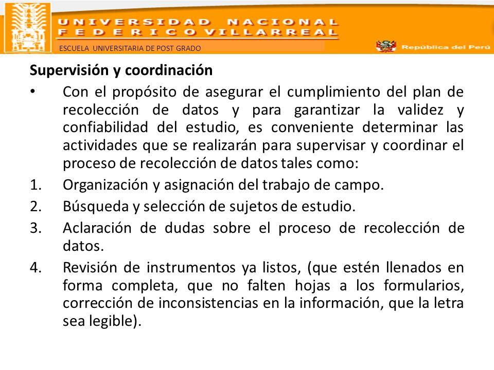 ESCUELA UNIVERSITARIA DE POST GRADO Supervisión y coordinación Con el propósito de asegurar el cumplimiento del plan de recolección de datos y para ga