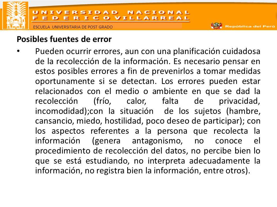 ESCUELA UNIVERSITARIA DE POST GRADO Posibles fuentes de error Pueden ocurrir errores, aun con una planificación cuidadosa de la recolección de la info