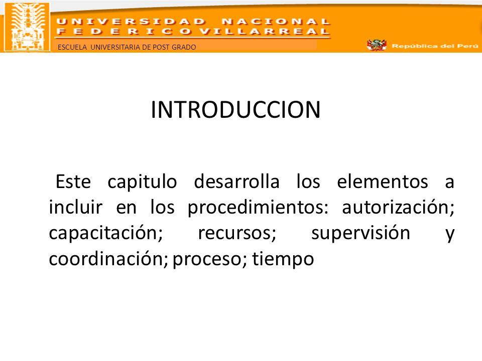ESCUELA UNIVERSITARIA DE POST GRADO INTRODUCCION Este capitulo desarrolla los elementos a incluir en los procedimientos: autorización; capacitación; r