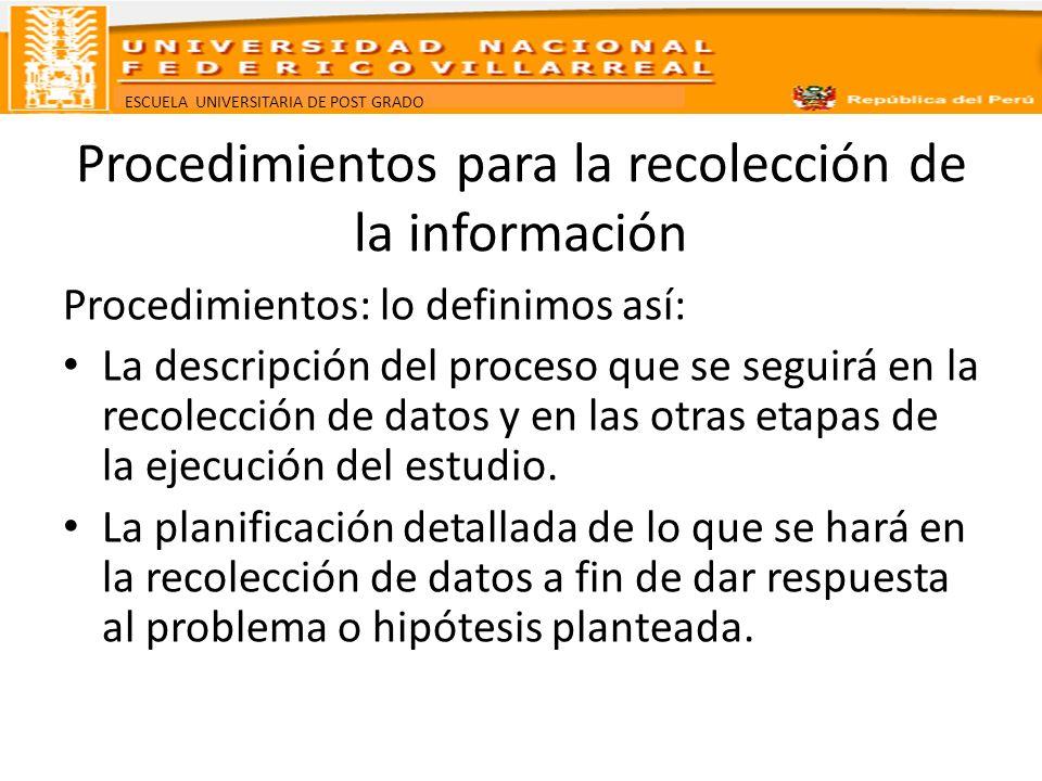 ESCUELA UNIVERSITARIA DE POST GRADO Procedimientos para la recolección de la información Procedimientos: lo definimos así: La descripción del proceso