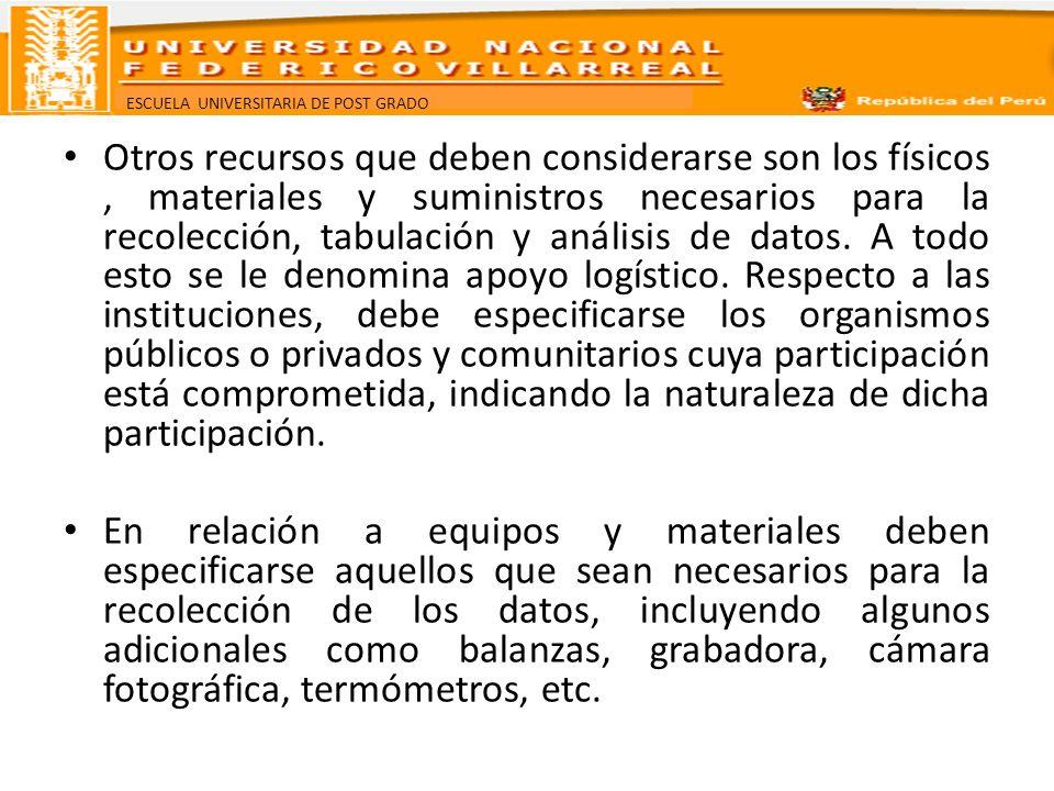 ESCUELA UNIVERSITARIA DE POST GRADO Otros recursos que deben considerarse son los físicos, materiales y suministros necesarios para la recolección, ta