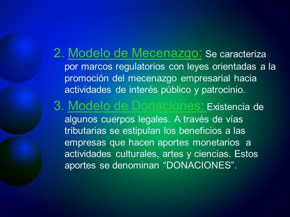2. Modelo de Mecenazgo: Se caracteriza por marcos regulatorios con leyes orientadas a la promoción del mecenazgo empresarial hacia actividades de inte