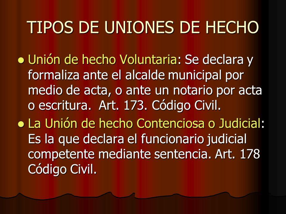 TIPOS DE UNIONES DE HECHO Unión de hecho Voluntaria: Se declara y formaliza ante el alcalde municipal por medio de acta, o ante un notario por acta o