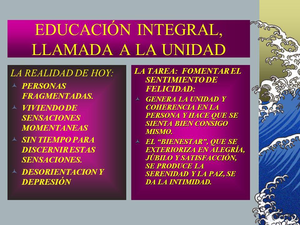 EDUCACIÓN INTEGRAL, LLAMADA A LA UNIDAD LA REALIDAD DE HOY: PERSONAS FRAGMENTADAS. VIVIENDO DE SENSACIONES MOMENTANEAS SIN TIEMPO PARA DISCERNIR ESTAS