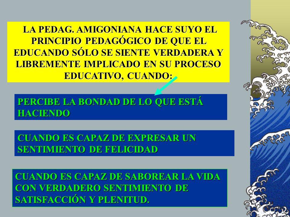 LA PEDAG. AMIGONIANA HACE SUYO EL PRINCIPIO PEDAGÓGICO DE QUE EL EDUCANDO SÓLO SE SIENTE VERDADERA Y LIBREMENTE IMPLICADO EN SU PROCESO EDUCATIVO, CUA