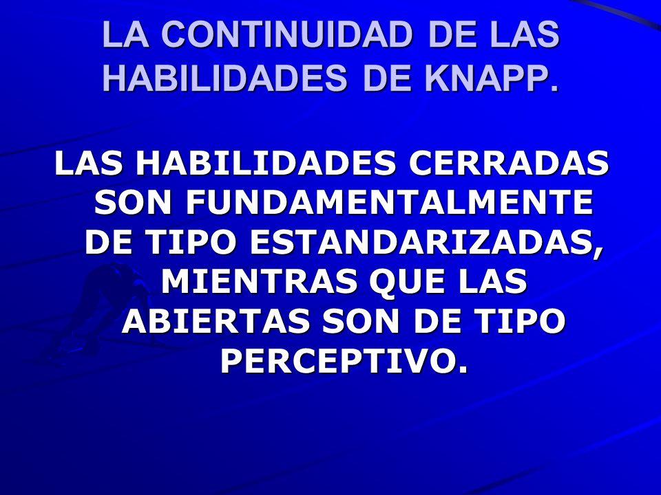 LA CONTINUIDAD DE LAS HABILIDADES DE KNAPP. LAS HABILIDADES CERRADAS SON FUNDAMENTALMENTE DE TIPO ESTANDARIZADAS, MIENTRAS QUE LAS ABIERTAS SON DE TIP