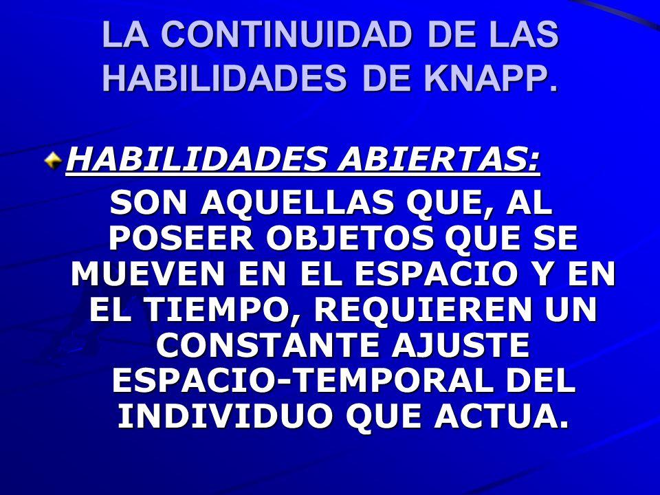 LA CONTINUIDAD DE LAS HABILIDADES DE KNAPP.EJEMPLOS: -RECEPCION DE UN PASE EN FUTBOL.