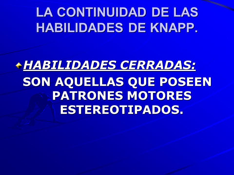 LA CONTINUIDAD DE LAS HABILIDADES DE KNAPP. HABILIDADES CERRADAS: SON AQUELLAS QUE POSEEN PATRONES MOTORES ESTEREOTIPADOS.