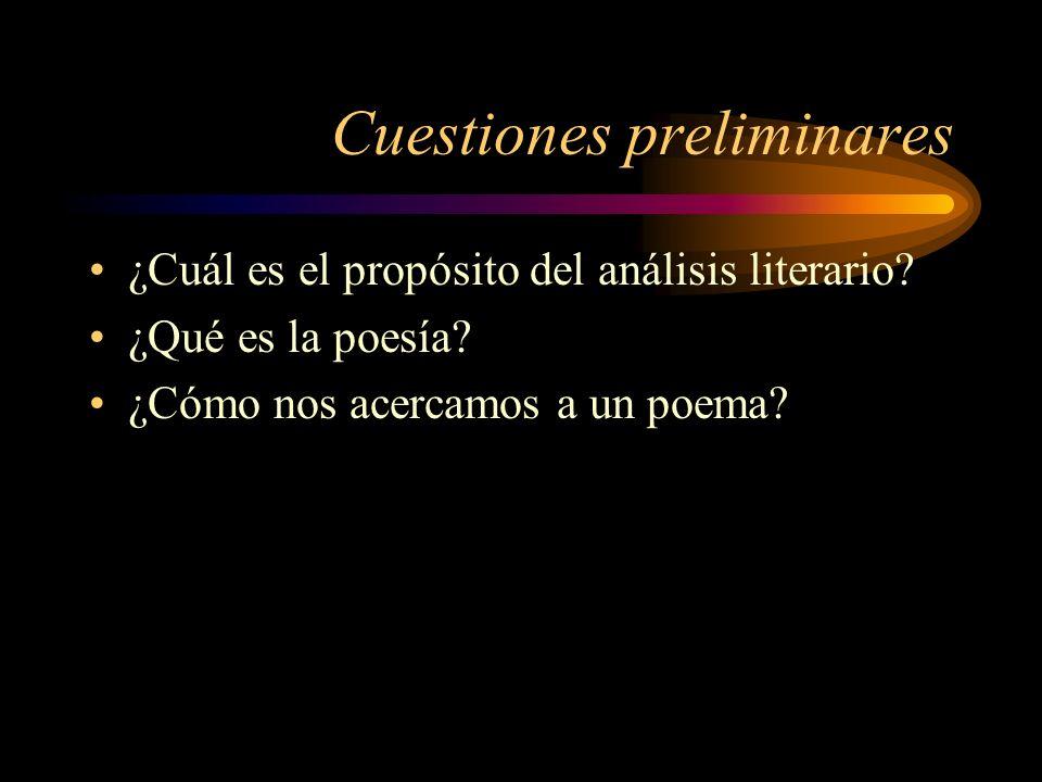 Cuestiones preliminares ¿Cuál es el propósito del análisis literario? ¿Qué es la poesía? ¿Cómo nos acercamos a un poema?