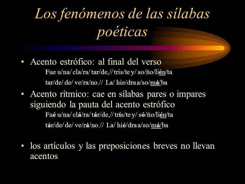 Los fenómenos de las sílabas poéticas Acento estrófico: al final del verso Fue u/na/ cla/ra/ tar/de,// tris/te y/ so/ño/lién/ta tar/de/ de/ ve/ra/no./