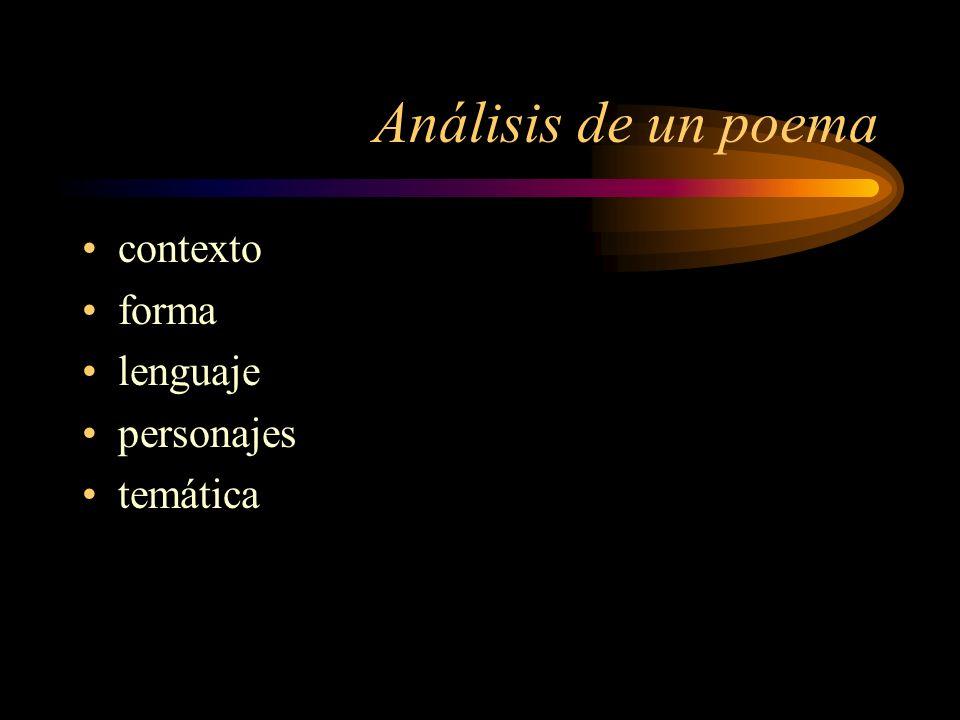 Análisis de un poema contexto forma lenguaje personajes temática