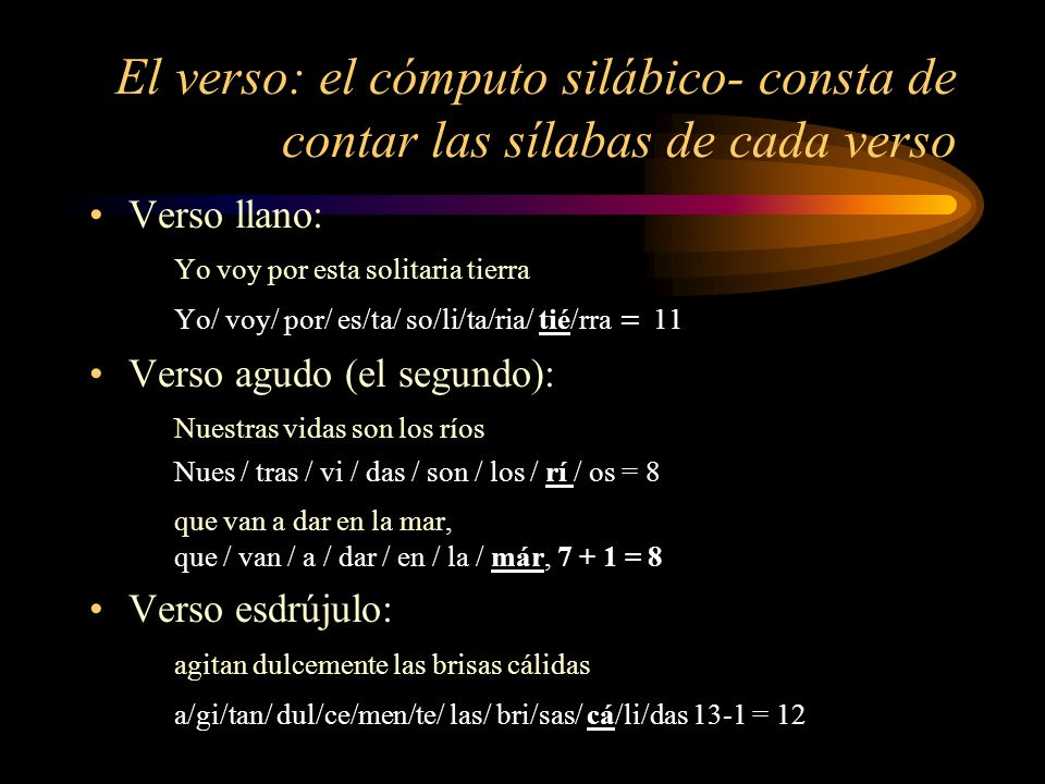 El verso: el cómputo silábico- consta de contar las sílabas de cada verso Verso llano: Yo voy por esta solitaria tierra Yo/ voy/ por/ es/ta/ so/li/ta/