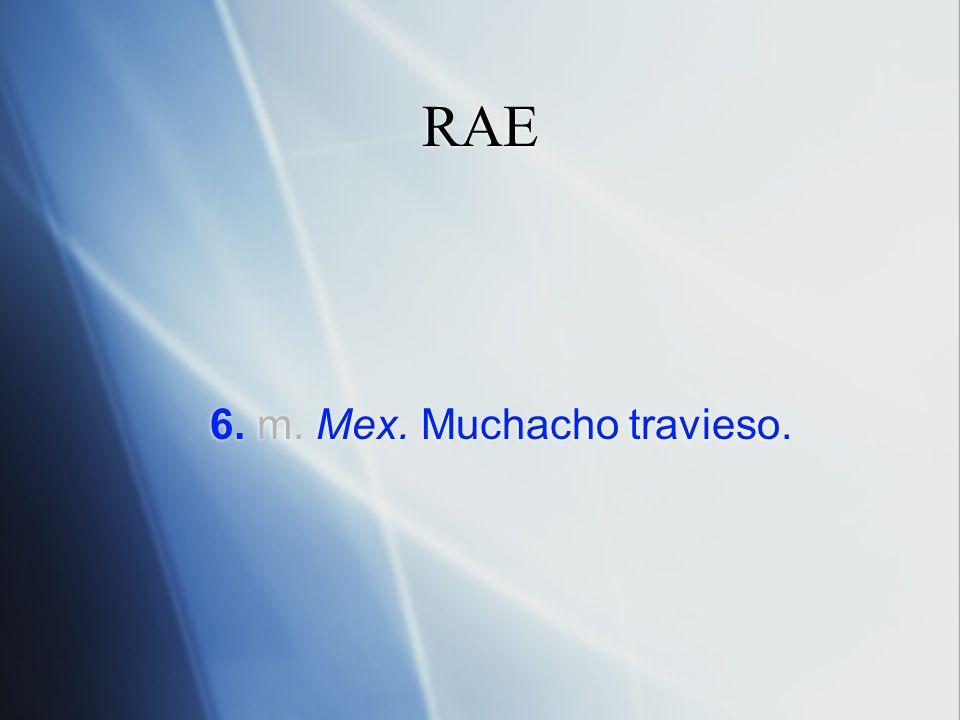 RAE 6. m. Mex. Muchacho travieso.