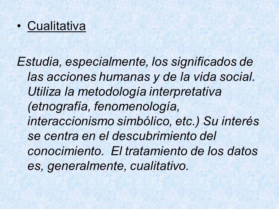 Cualitativa Estudia, especialmente, los significados de las acciones humanas y de la vida social. Utiliza la metodología interpretativa (etnografía, f