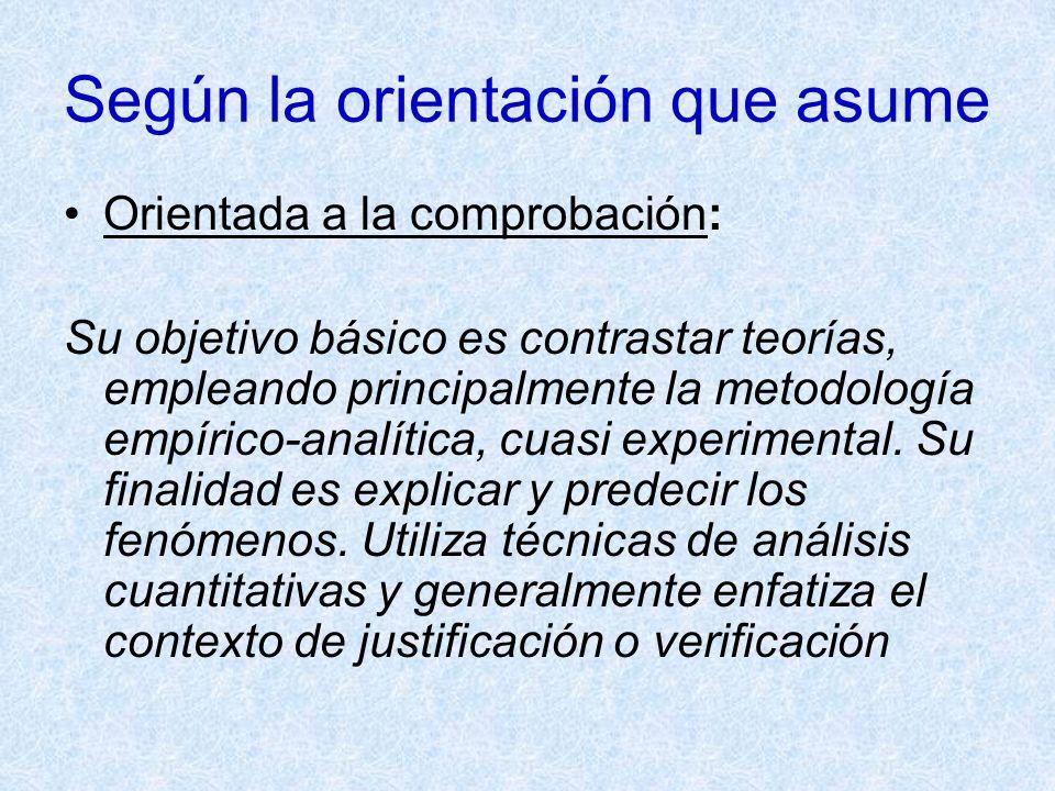 Según la orientación que asume Orientada a la comprobación: Su objetivo básico es contrastar teorías, empleando principalmente la metodología empírico