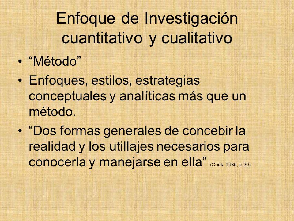 Enfoque de Investigación cuantitativo y cualitativo Método Enfoques, estilos, estrategias conceptuales y analíticas más que un método. Dos formas gene