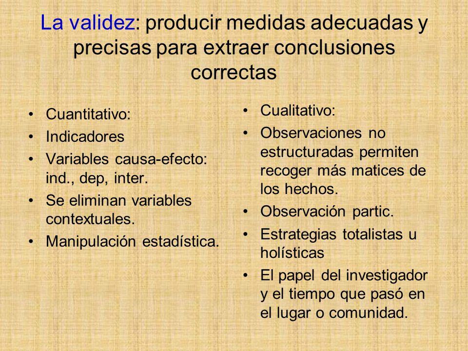 La validez: producir medidas adecuadas y precisas para extraer conclusiones correctas Cuantitativo: Indicadores Variables causa-efecto: ind., dep, int
