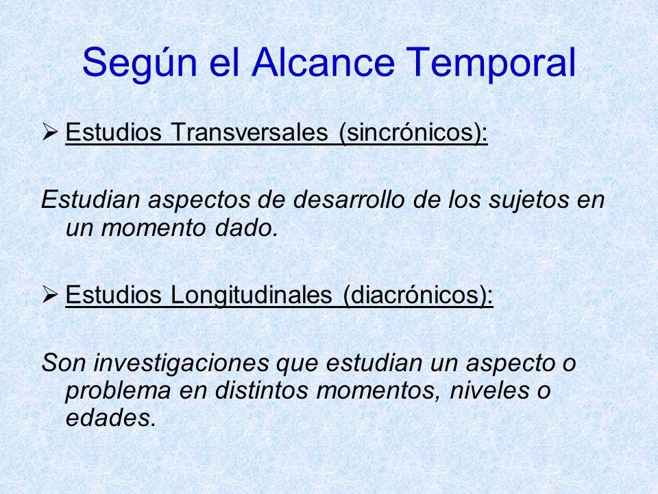 Según el Alcance Temporal Estudios Transversales (sincrónicos): Estudian aspectos de desarrollo de los sujetos en un momento dado. Estudios Longitudin