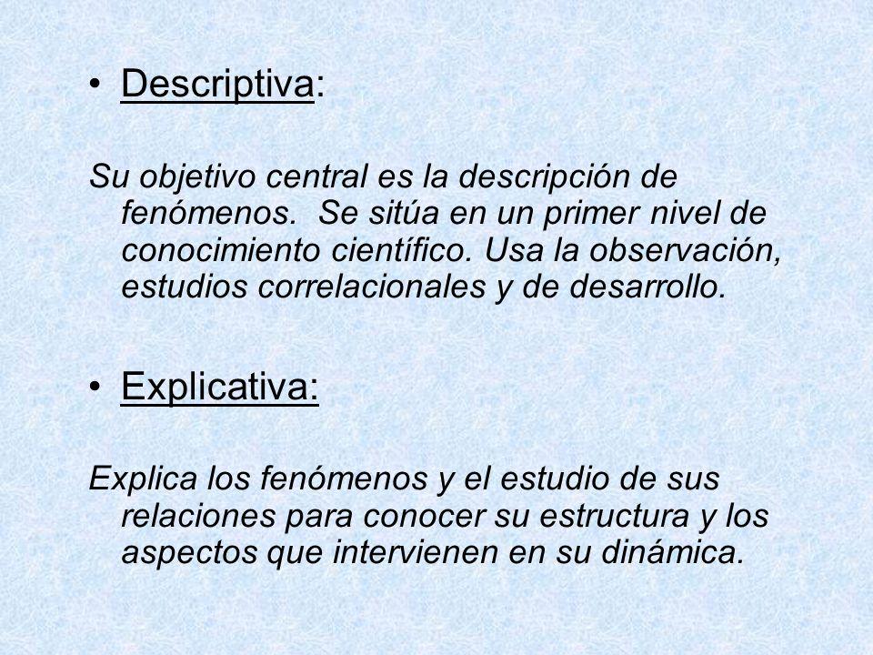 Descriptiva: Su objetivo central es la descripción de fenómenos. Se sitúa en un primer nivel de conocimiento científico. Usa la observación, estudios