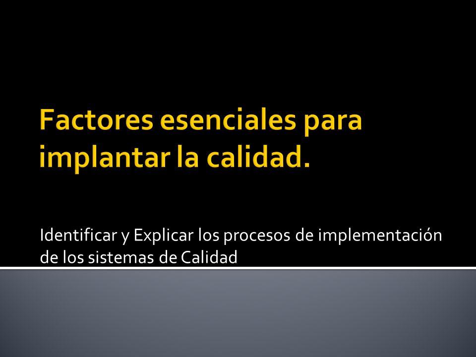 Identificar y Explicar los procesos de implementación de los sistemas de Calidad
