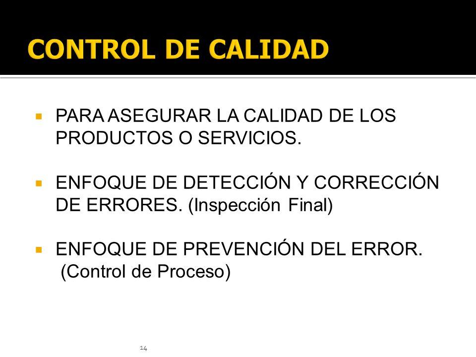 14 PARA ASEGURAR LA CALIDAD DE LOS PRODUCTOS O SERVICIOS. ENFOQUE DE DETECCIÓN Y CORRECCIÓN DE ERRORES. (Inspección Final) ENFOQUE DE PREVENCIÓN DEL E