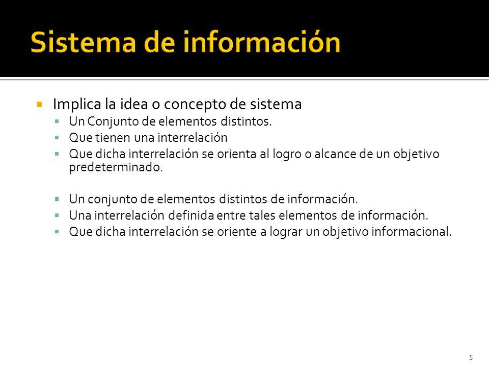 5 Implica la idea o concepto de sistema Un Conjunto de elementos distintos. Que tienen una interrelación Que dicha interrelación se orienta al logro o