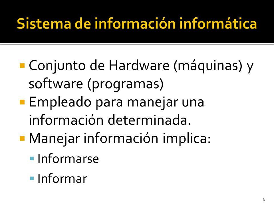 6 Conjunto de Hardware (máquinas) y software (programas) Empleado para manejar una información determinada. Manejar información implica: Informarse In