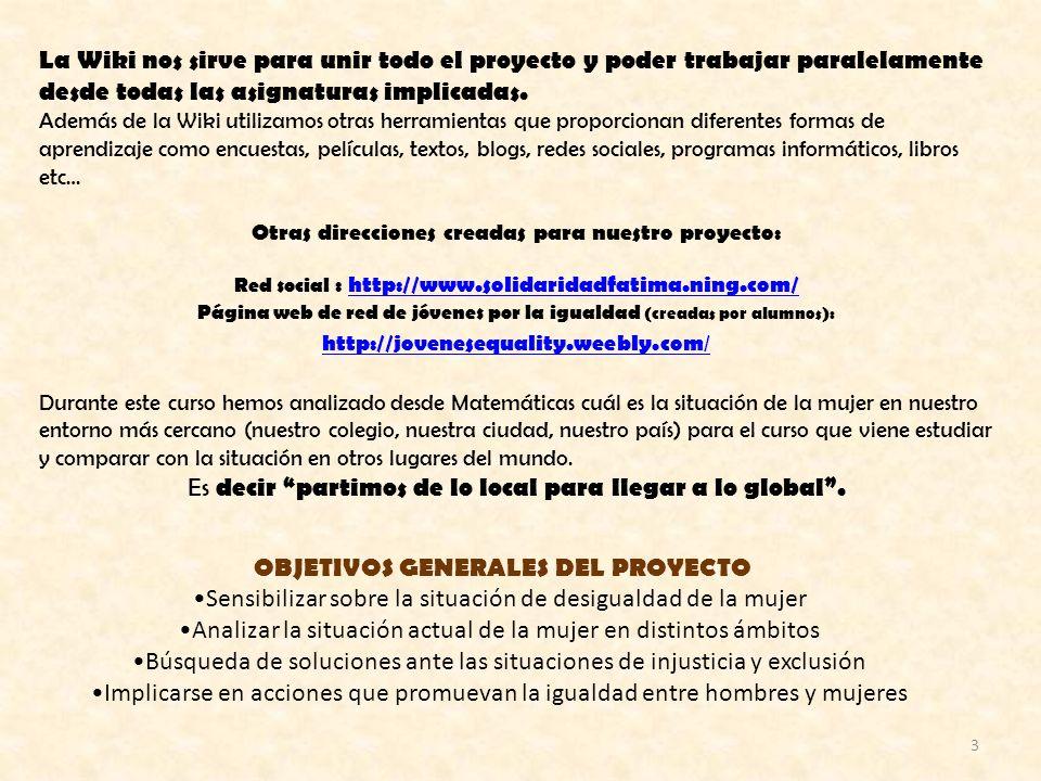 3 OBJETIVOS GENERALES DEL PROYECTO Sensibilizar sobre la situación de desigualdad de la mujer Analizar la situación actual de la mujer en distintos ám