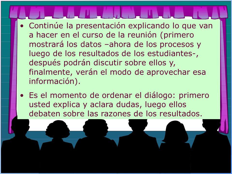 Continúe la presentación explicando lo que van a hacer en el curso de la reunión (primero mostrará los datos –ahora de los procesos y luego de los res