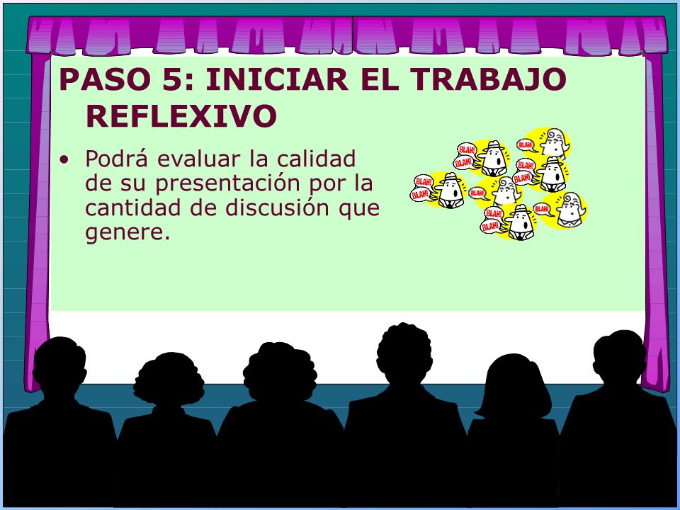 PASO 5: INICIAR EL TRABAJO REFLEXIVO Podrá evaluar la calidad de su presentación por la cantidad de discusión que genere.