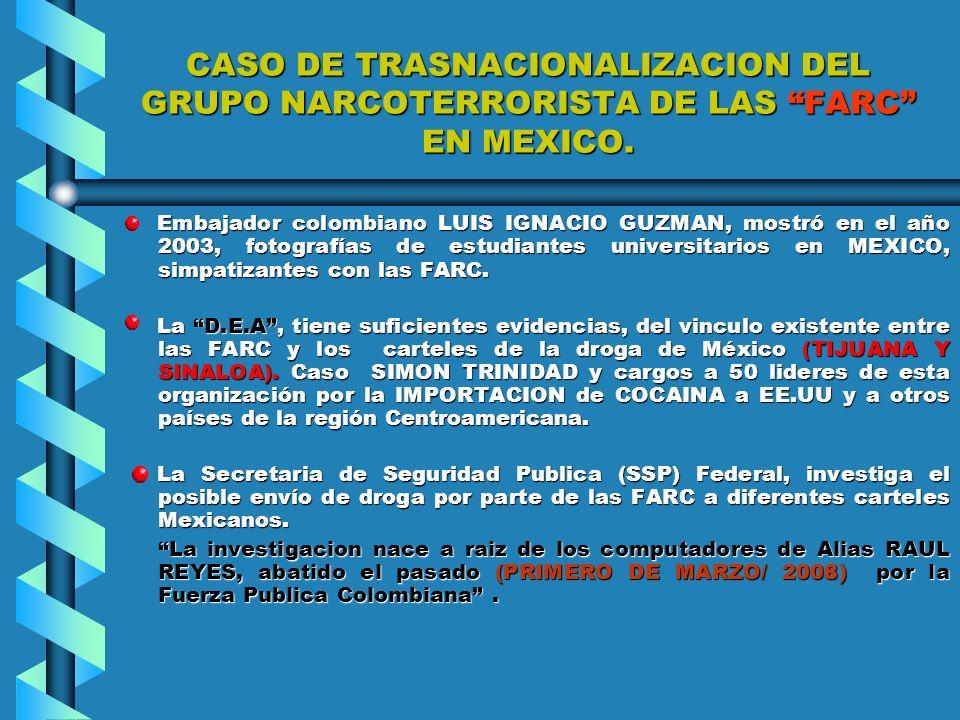 INTERNACIONALIZACION DEL TERRORISMO DE LAS FARC. PRIMER ASPECTO: PRIMER ASPECTO: ESTABLECER CONTACTOS EN EL EXTERIOR CON ORGANIZACIONES POLITICAS, UNI
