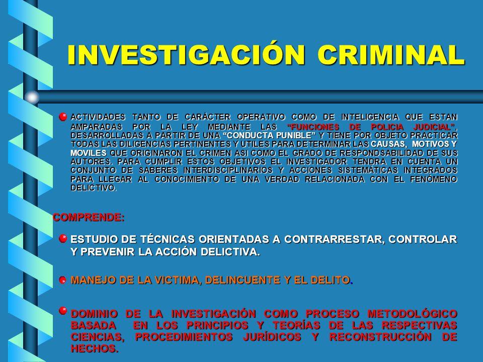 INVESTIGACIÓN CRIMINAL ACTIVIDADES TANTO DE CARÁCTER OPERATIVO COMO DE INTELIGENCIA QUE ESTAN AMPARADAS POR LA LEY MEDIANTE LAS FUNCIONES DE POLICIA JUDICIAL, DESARROLLADAS A PARTIR DE UNA CONDUCTA PUNIBLE Y TIENE POR OBJETO PRACTICAR TODAS LAS DILIGENCIAS PERTINENTES Y UTILES PARA DETERMINAR LAS CAUSAS, MOTIVOS Y MOVILES QUE ORIGINARON EL CRIMEN ASI COMO EL GRADO DE RESPONDSABILIDAD DE SUS AUTORES.