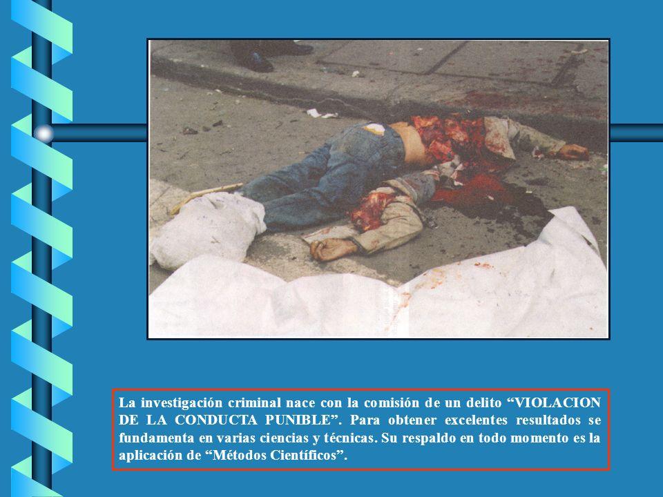 La investigación criminal nace con la comisión de un delito VIOLACION DE LA CONDUCTA PUNIBLE.