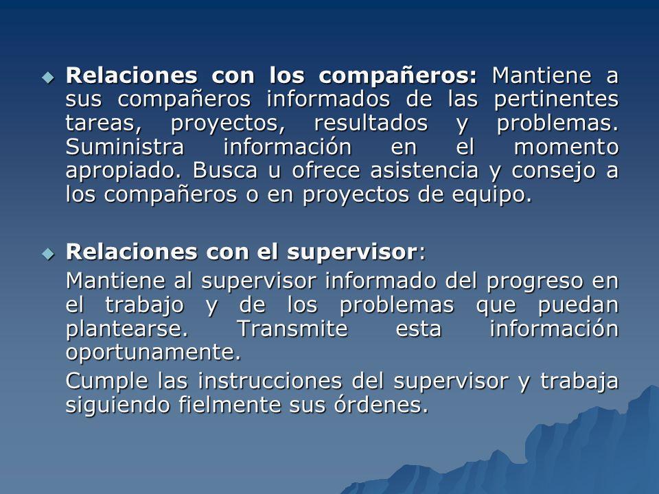 Relaciones con el Público: Establece, mantiene y mejora las relaciones con el personal externo, como clientes proveedores, dirigentes comunitarios y poderes públicos.