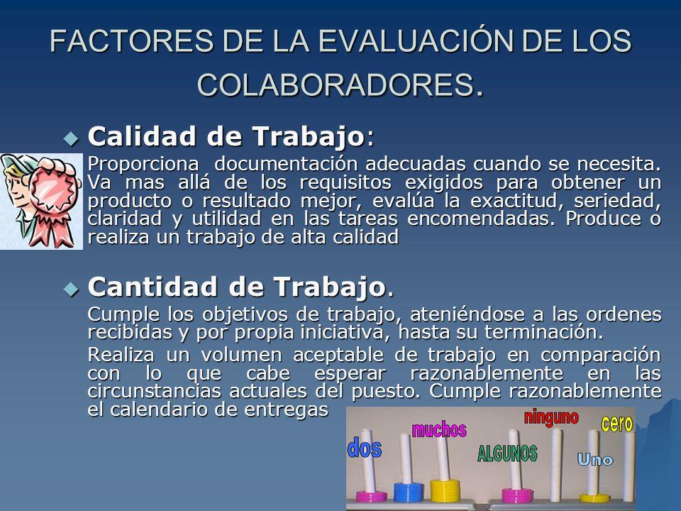 Conocimiento del puesto: Conocimiento del puesto: Mide el grado de conocimiento y entendimiento del trabajo.