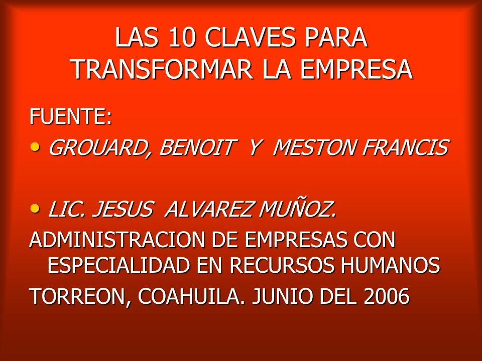 LAS 10 CLAVES PARA TRANSFORMAR LA EMPRESA FUENTE: GROUARD, BENOIT Y MESTON FRANCIS GROUARD, BENOIT Y MESTON FRANCIS LIC.